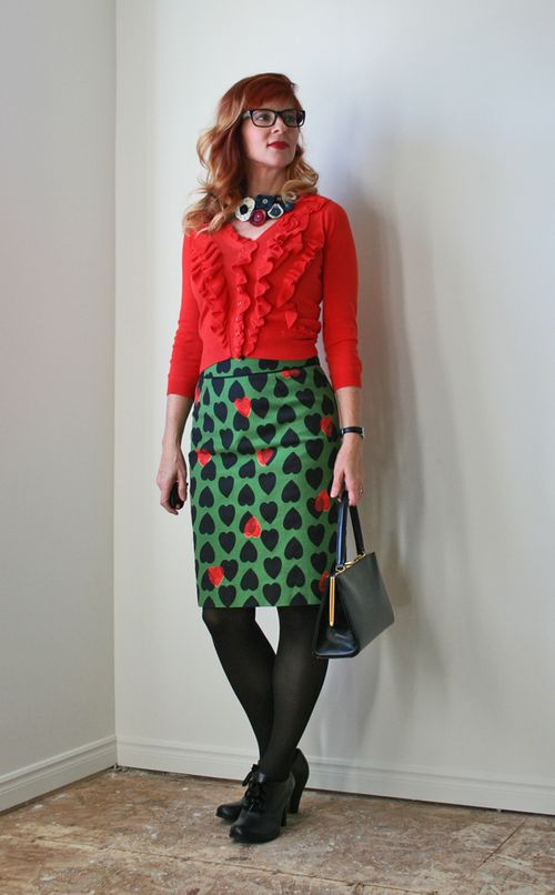 Orange cardigan green heart anthropologie skirt