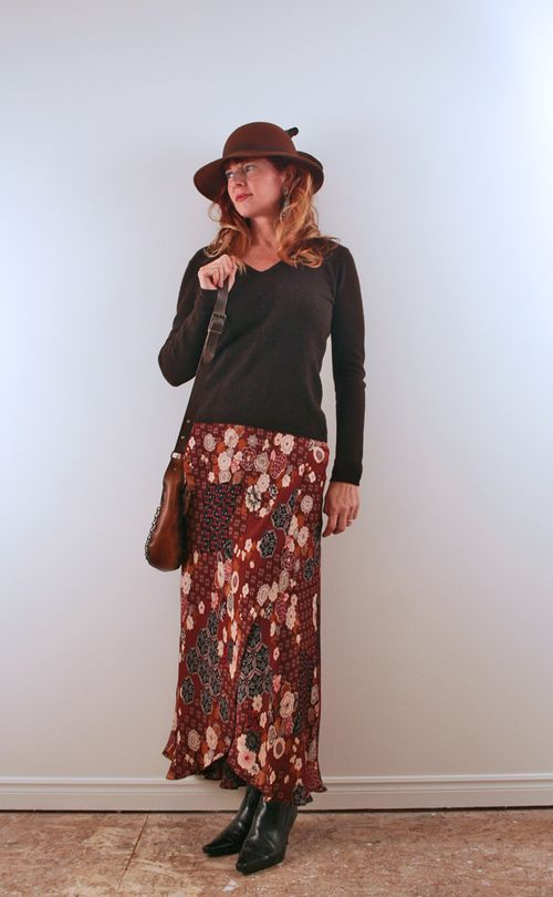Boho style silk midi skirt