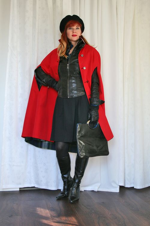 Black leather jacket vintage 1960's red cape