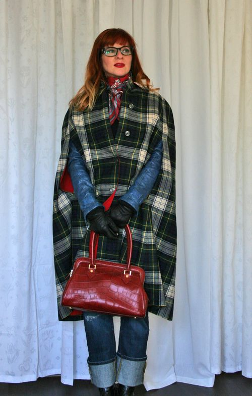 Plaid 1960s vintage cape