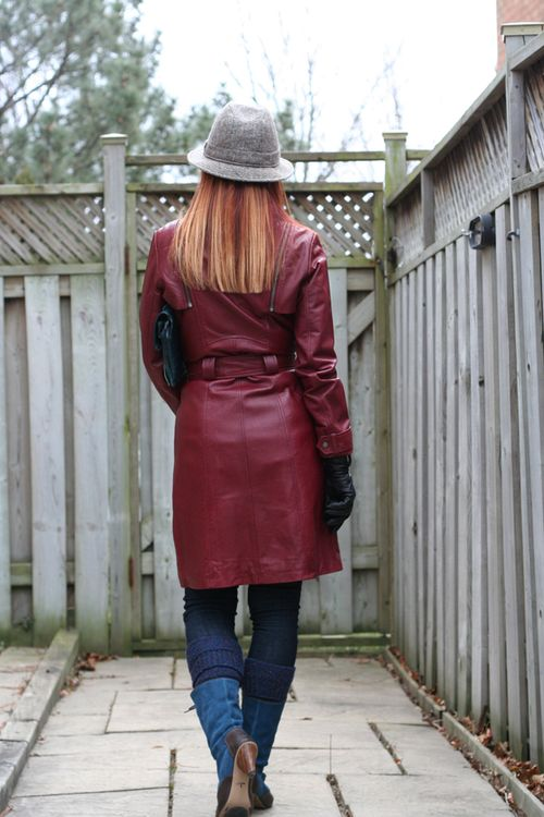 Back of red danier leather coat