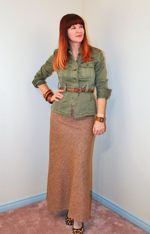 Brown tweed maxi skirt thrift store shopping tips.