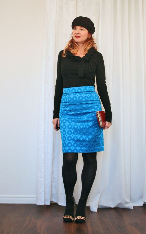 Anthropologie blue skirt black sweater