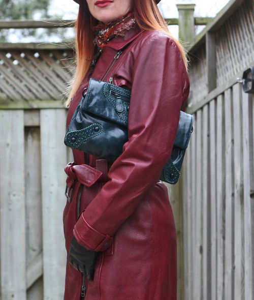 Close up red danier leather coat