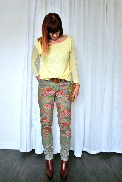 Spring outfit floral jeans yellow sequin top suzanne carillo