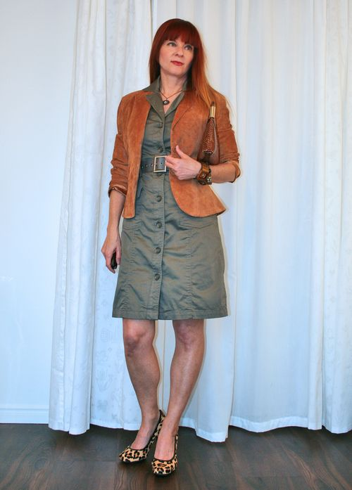 Army green dress brown suede jacket suzanne carillo