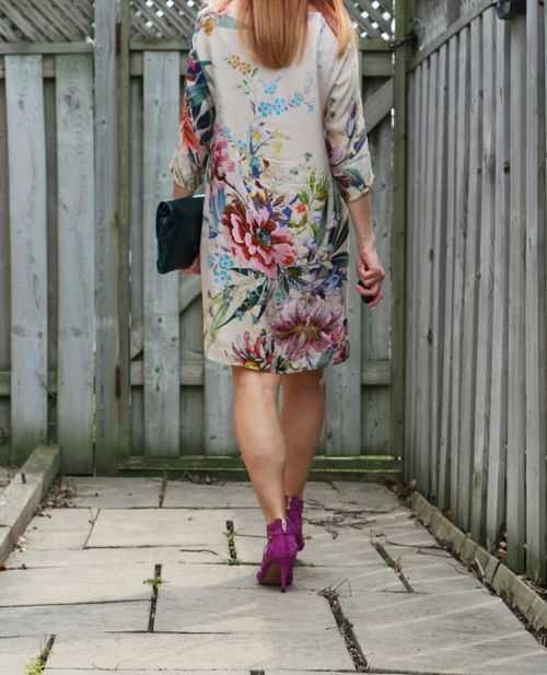 Zara floral dress worn backwards
