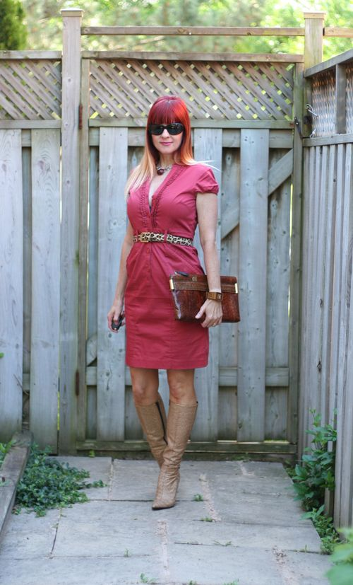 Miu miu snakeskin boots leopard belt H&M dress suzanne carillo style files