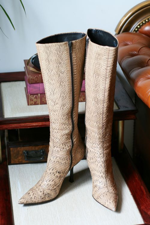 Tall miu miu snakeskin boots for sale suzanne carillo style files size 7
