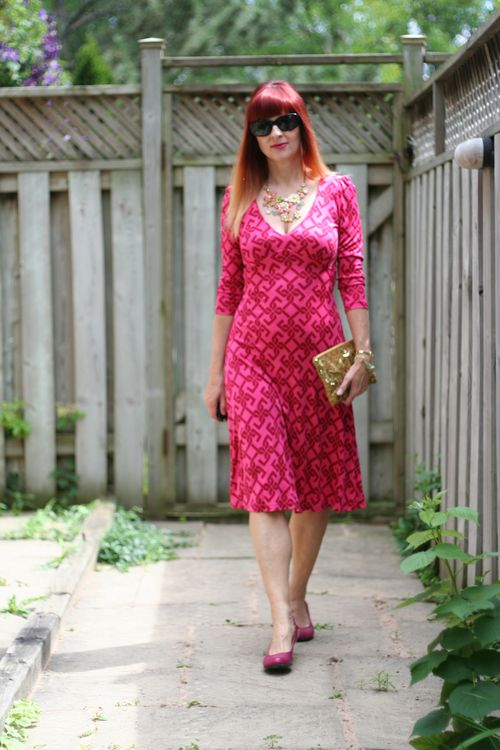 Silk pink tartan dress gold anthropologie clutch pink fluevog shoes suzanne carillo style files