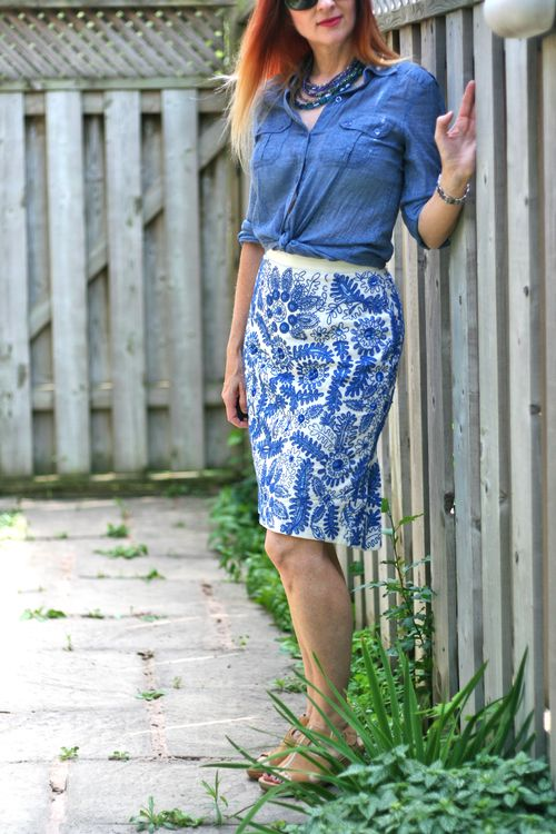 Anthropologie bluet embroidered pencil skirt suzanne carillo style files