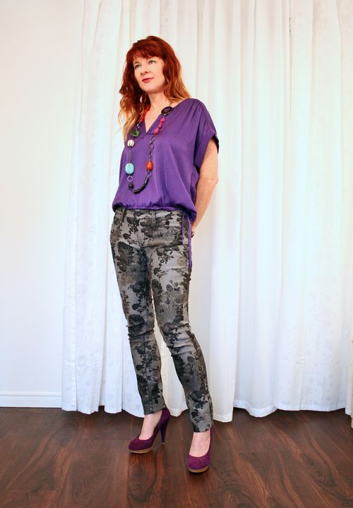 Grey floral jeans BCBG purple top suzanne carillo
