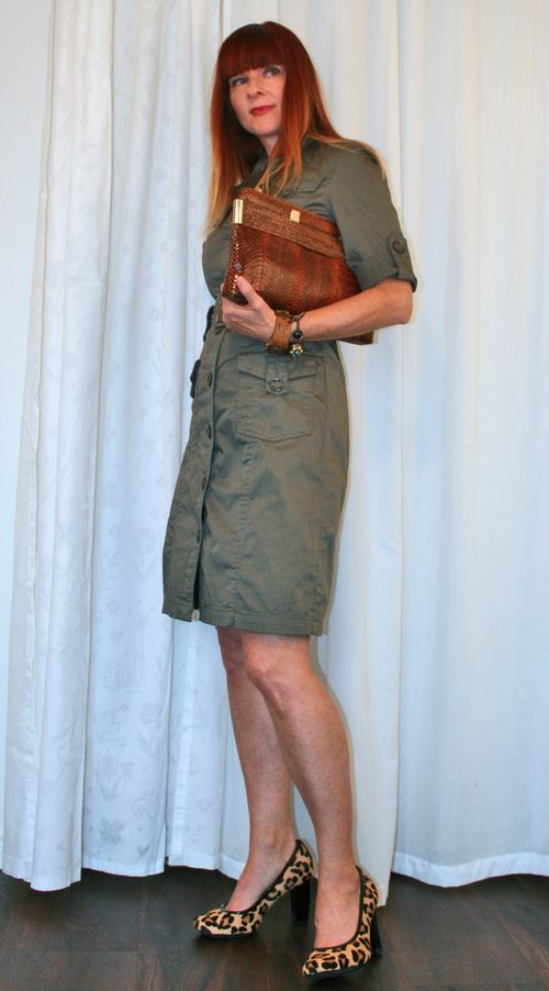 RW & Co army green dress Suzanne Carillo