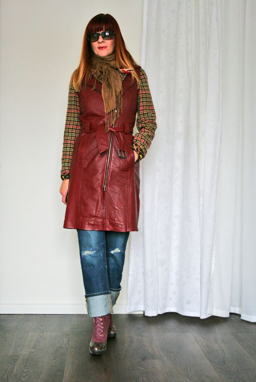 Red leather vest danier layered dressing for winter