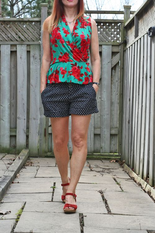 Anthropologie floral peplum top polkadot shorts
