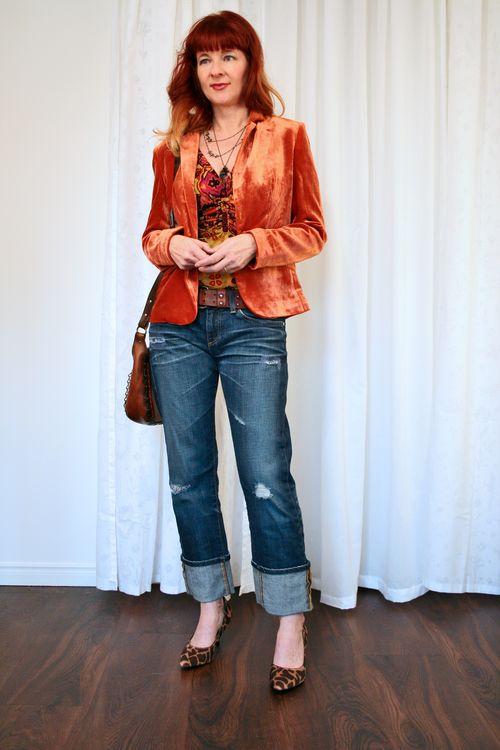 Ag jeans orange velvet blazer