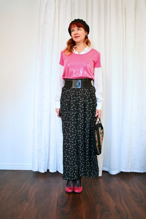 Pink sequin top wide patterned pants suzanne carillo