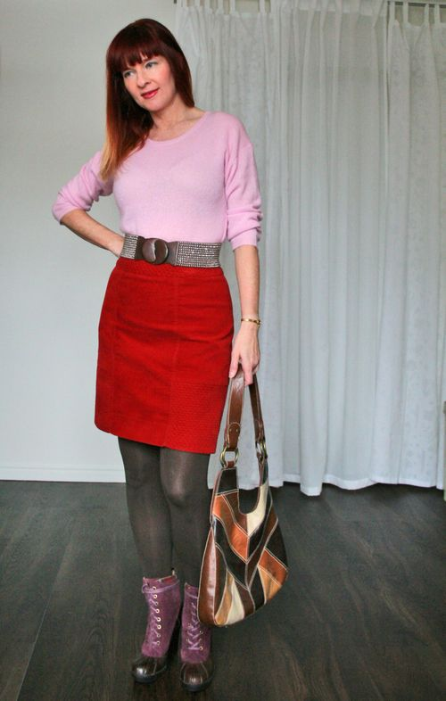 Mixing pink and orange fall winter outfit suzanne carillo style files