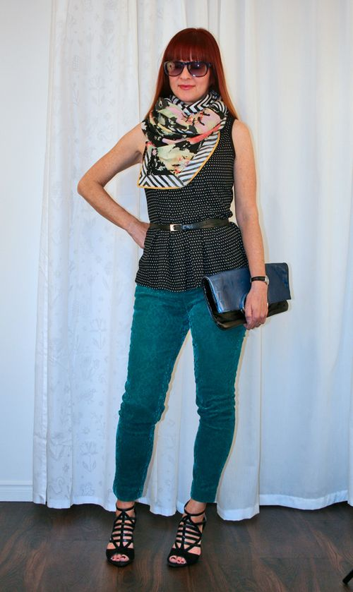 Peplum and oversized scarf anthropologie pants
