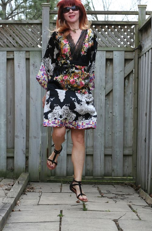 Single dress silk kimono