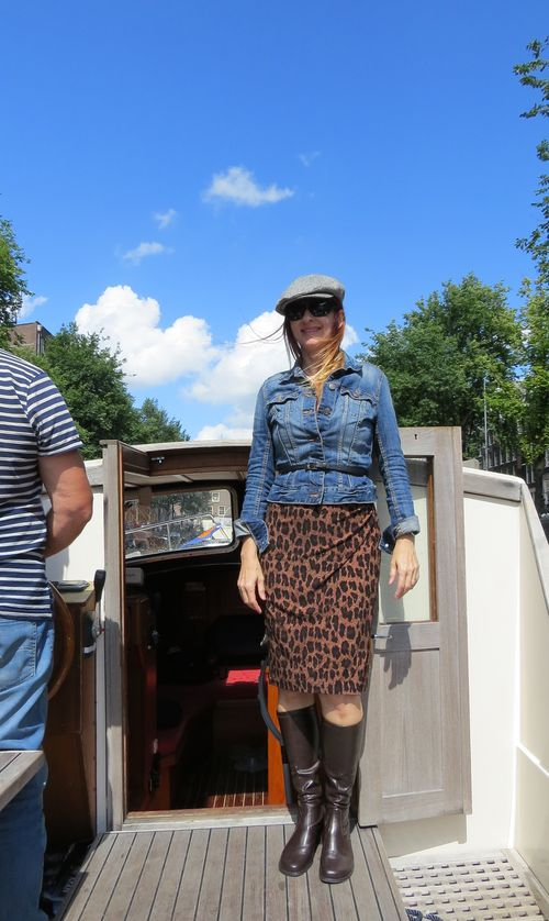 Leopard dress blue jean jacket boots suzanne carillo style files what to wear when cruising the canals of amsterdam