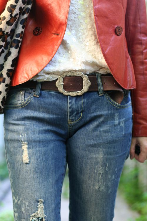 How to wear sequins during the day Brown leather belt