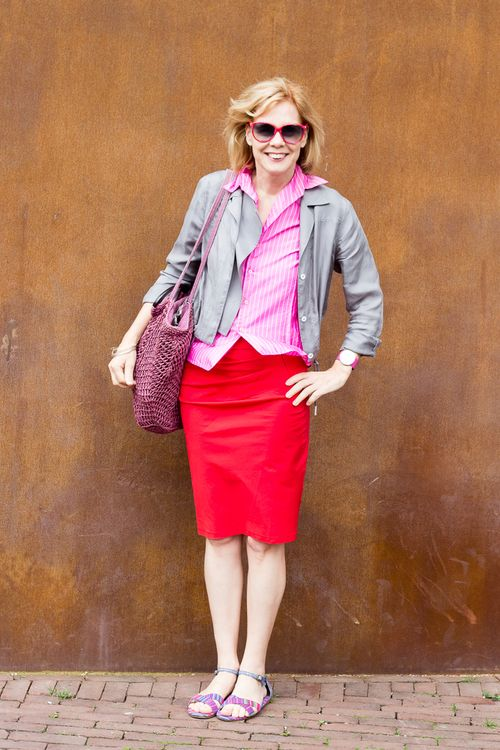 Classic sylvia style how to wear red pink and grey