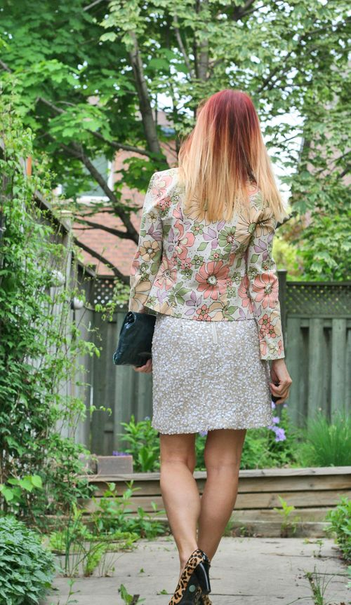 How to wear sequins during the day How to wear a floral blazer suzanne carillo style files