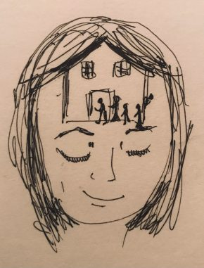 Sketch of female head with visitors approaching house in brain area
