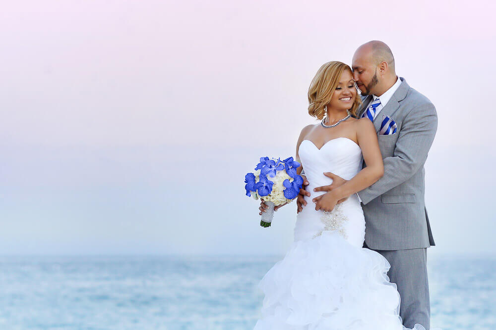 Bride and groom Beach Dreams Cabo Blue and gray