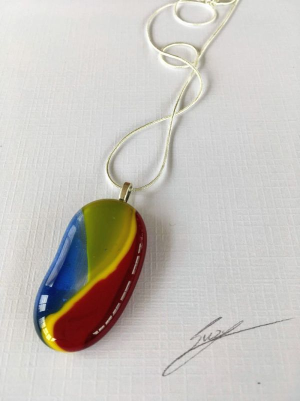 Colourful Glass Necklace with silver plated chain