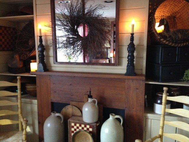 """This old pine mantle was a free """"rescue"""" that I pick up off the side of the road."""