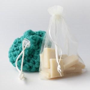 Kitchen scrubber + bag of soap