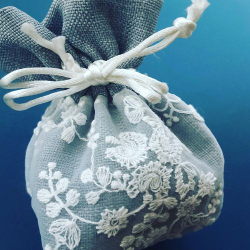 soap ball gift wrap - blue lace bag