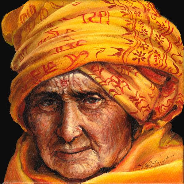 Bright yellow headscarf