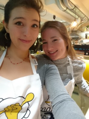 Abby and I at The Makery with our aprons