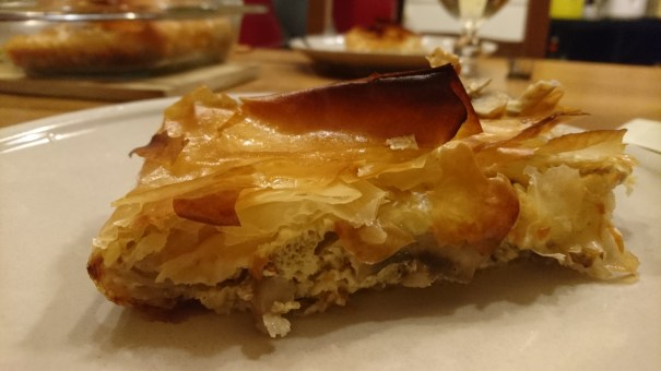 Swiss cheese, sauteed mushroom and onion phyllo tart/quiche thing