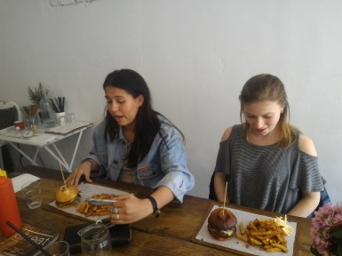 Nina and Holly ready to eat at Streat