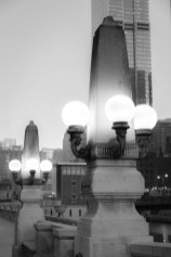 Art deco street lamps lining the Chicago River