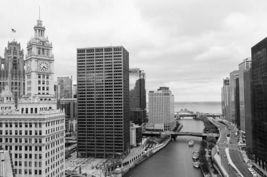 Rooftop view of Chicago River toward Lake Michigan