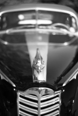 Front end of a classic black Packard