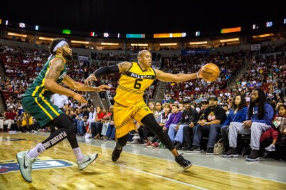 Xavier Silas of the Ball Hogs attempts to block Mo Evans of Killer 3s in week nine of the BIG3 three-on-three basketball league at KeyArena on August 20, 2017 in Seattle, Washington.