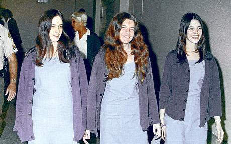 Susan Atkins, Patricia Krenwinkel and Leslie Van Houten en route to court in Los Angeles, 1970. Photo: AP