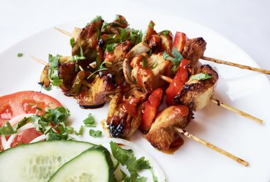 Chicken Satay Skewers at Golden 8 Brighton