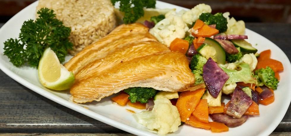 Baked Salmon, rice, steamed veg.