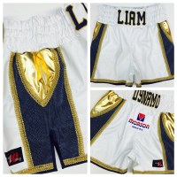 White Leather and Blue Snake Boxing Trunks