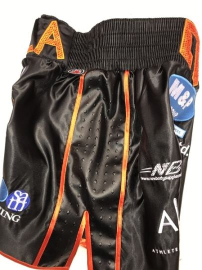 Liam williams black and orange side satin boxing shorts