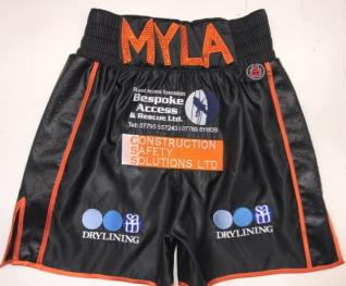 Black and orange satin boxing shorts liam williams