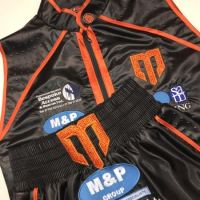 Williams Black and Orange Satin Boxing Shorts