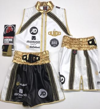 Scott Quigg White Boxing Shorts and Ring Jacket